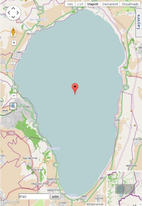 מפת כינרת - גוגל