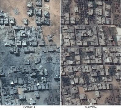 """לוויינים בשרות האו""""ם. צילומים: חברת פליאדס ה""""דאחיה של עזה"""""""