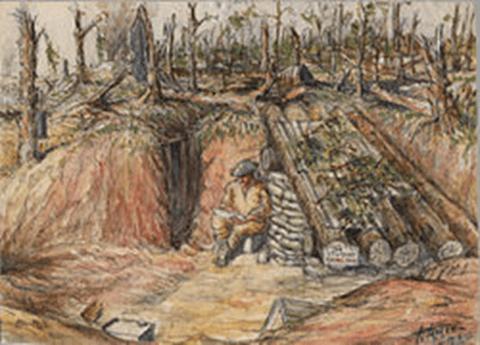 """ביתו של אמן על הסום"""" – ציורו של ויליאם טופהם המתאר את השגרה בשוחות בקרב על הסום"""