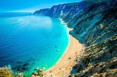 Famous Platia Ammos beach in Kefalonia island, Greece