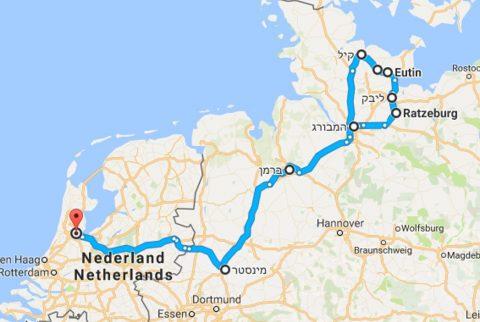 מסלול הטיול מהמבורג ועד אמסטרדם