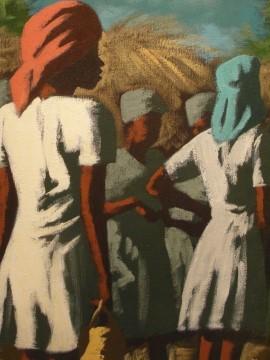 נשים גדולות עטופות בבדים עזי צבע זקופות נושאות על ראשן סלים מלאי עמל