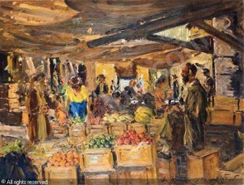 שוק מחנה יהודה - ציור של לודוויג בלום