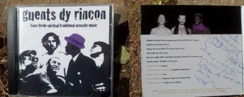 טקסט תמונה: עטיפת הדיסק החתום של Guents dy Rincon - מוסיקה מסורתית רוחנית של קאבו-ורדה (כף ורדה)