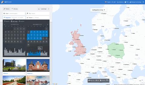 מפה אינטראקטיבית של אפליקציית Skypicker