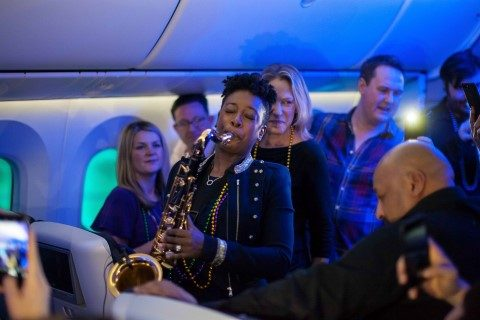 LONDON, UK: YolanDa Brown performs on board British Airways' VIP charter flight to New Orleans, the airline's newest destination. (Picture by Nick Morrish/British Airways)